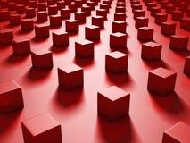 Rode Abstracte Metaalkubussenachtergrond Stock Afbeeldingen