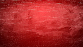 Rode abstracte veelhoekige achtergrond met wireframelijnen Royalty-vrije Stock Foto's
