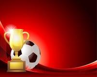 Rode abstracte Voetbalachtergrond met bal en trofee Royalty-vrije Stock Foto