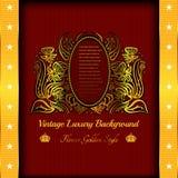 rode achtergrond met abstracte gouden bloem Royalty-vrije Stock Foto's