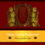 rode achtergrond met abstracte gouden bloem Royalty-vrije Stock Afbeelding