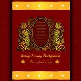 Rode achtergrond met abstracte gouden bloemen Royalty-vrije Stock Foto's