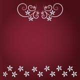 Rode achtergrond met bloemen en witte bloem Stock Afbeelding