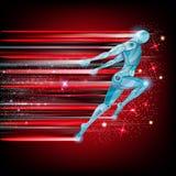 Rode achtergrond met cyborg die of met snelheid van licht vliegen lopen Stock Foto