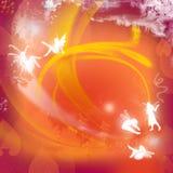 Rode achtergrond met feeën Stock Afbeelding