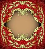 Rode achtergrond met frame met gouden (en) (Engelse) steekproef Royalty-vrije Stock Afbeelding