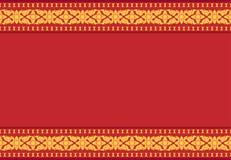 Rode achtergrond met geel Thais patroon, vector stock illustratie