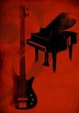 Rode achtergrond met gitaar en piano Royalty-vrije Stock Afbeeldingen