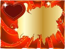 Rode achtergrond met hart Stock Foto