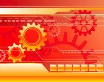 Rode achtergrond met toestellen Stock Foto