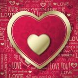 Rode achtergrond met valentijnskaarthart en wensen te Stock Afbeeldingen