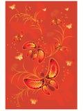 Rode achtergrond met vlinder Stock Illustratie