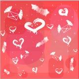 Rode achtergrond met witte harten en vliegende brief Royalty-vrije Stock Foto's