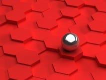 Rode achtergrond van 3d zeshoeken en staalgebied Royalty-vrije Stock Afbeelding