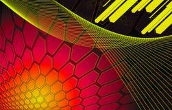 Rode Achtergrond van zeshoeken met diagonale staven Stock Afbeelding
