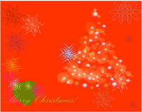Rode achtergrondboom Vrolijke Kerstmis Stock Fotografie