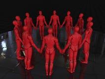 Rode androids - de cirkel van holdingshanden stock foto's