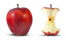 Rode appel die aan kern wordt gegeten Stock Foto's