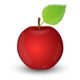 Rode appel die op witte achtergrond wordt geïsoleerd. Stock Afbeeldingen