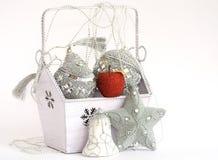 Rode appel in doos met Kerstmisdecoratie Stock Afbeelding
