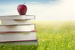 Rode appel en een stapel van boeken Stock Foto's