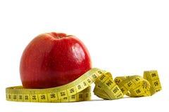 Rode appel en het meten van band Royalty-vrije Stock Afbeelding