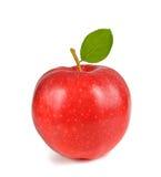 Rode appel met blad royalty-vrije stock afbeeldingen
