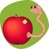 Apple met een worm Royalty-vrije Stock Afbeelding