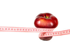 Rode appel met meting Royalty-vrije Stock Afbeelding