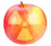 Rode appel met teken van kerngevaar Stock Foto's
