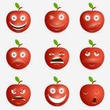 Rode appel met vele uitdrukkingen Royalty-vrije Stock Fotografie