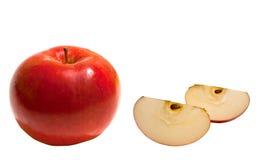Rode appel op een witte geïsoleerdee achtergrond Stock Afbeeldingen