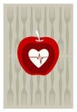 Rode appel op grijze achtergrond Stock Foto
