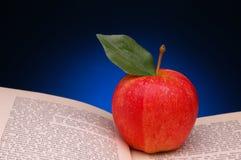 Rode Appel op Open Boek Royalty-vrije Stock Foto