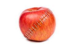 Rode appel op witte achtergrond Stock Afbeelding