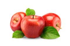 Rode appelen die op wit worden geïsoleerde Stock Foto's