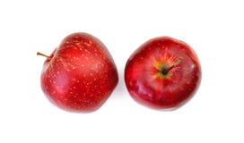Rode appelen die op witte achtergrond worden geïsoleerd Hoogste mening Stock Afbeelding