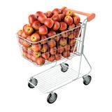 Rode appelen in een boodschappenwagentje. Stock Afbeelding