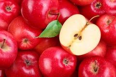 Rode appelen met blad Royalty-vrije Stock Afbeeldingen