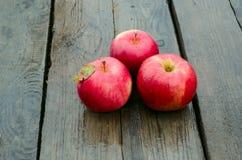 Rode appelen op oud hout Royalty-vrije Stock Foto