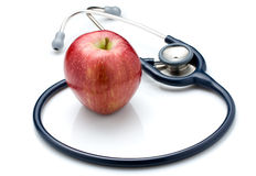 Rode Apple en Stethoscoop Stock Afbeeldingen
