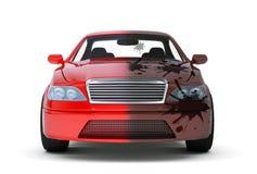 Rode auto met vuile kant Stock Foto
