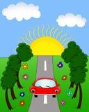 Rode auto op de weg, illustratie Stock Afbeeldingen