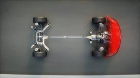 Rode autochassis met motor op weg Overgang met deeltjes Zeer snel drijvend AUTOconcept het 3d teruggeven Royalty-vrije Stock Foto