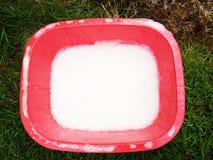 Rode bak met spons van detergens royalty-vrije stock afbeelding