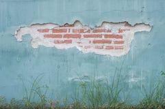 Rode baksteen binnen Blauwe muur Royalty-vrije Stock Afbeeldingen