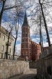 Rode baksteen gotische kerk met klokketoren royalty-vrije stock afbeelding