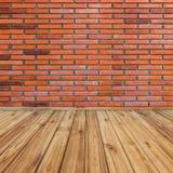 Rode bakstenen muur en houten perspectief stock illustratie
