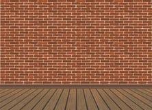 Rode bakstenen muur en houten vloer stock illustratie
