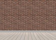 Rode bakstenen muur en houten vloer vector illustratie